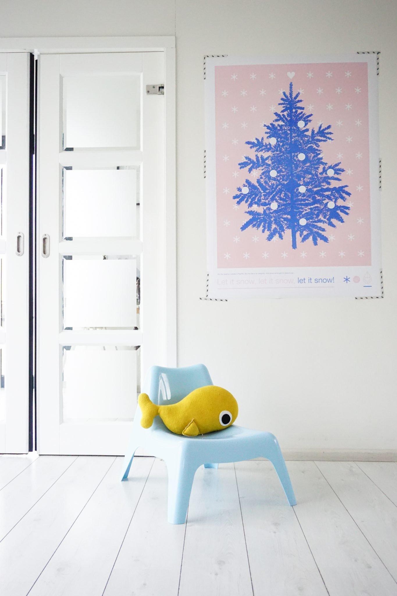 zilverblauw kerst poster kerstboom