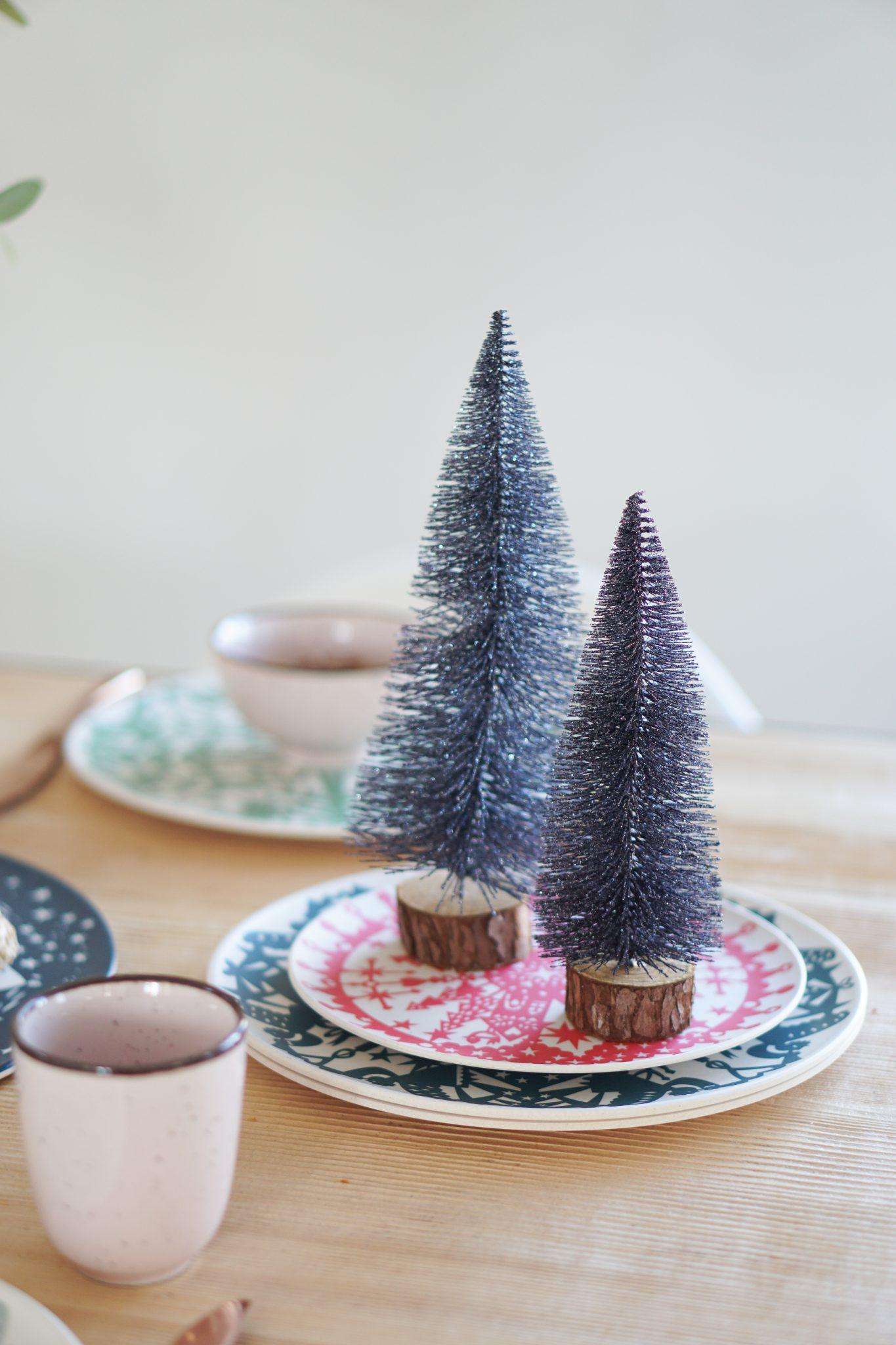 kerstboompjes bordjes winterservies