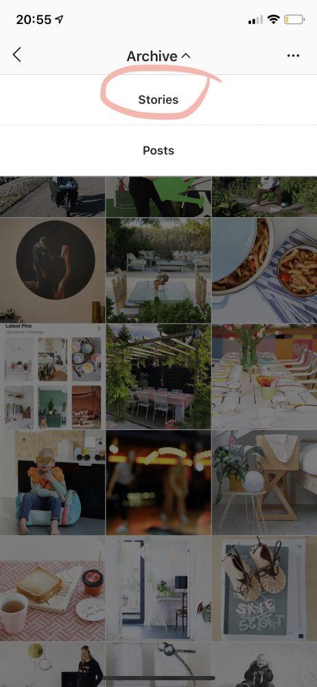 instagram archief post stories