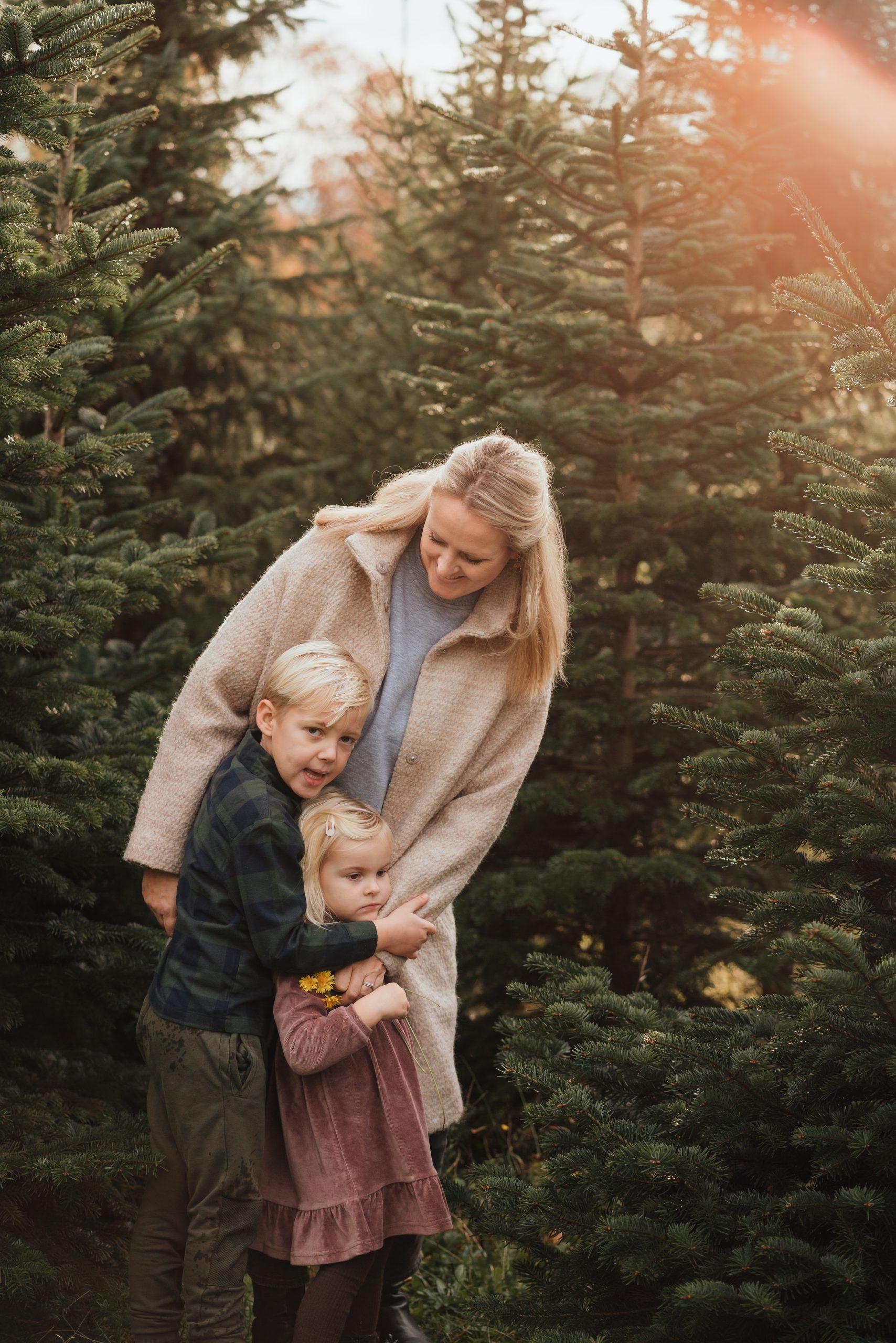 familieshoot kerst kerstbomen