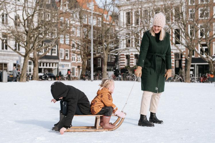 Amsterdam sneeuw Amstelveld fotoshoot