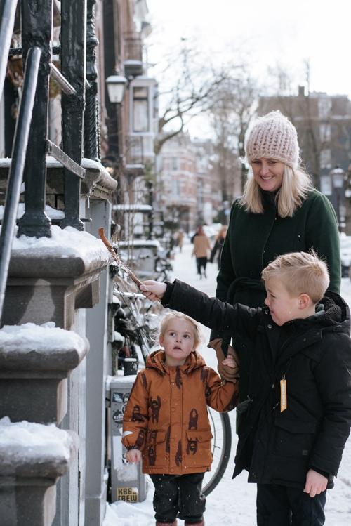 Familie fotoshoot sneeuw Amsterdam